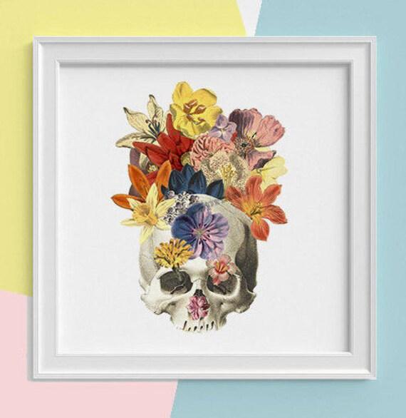 Skull with flowers Print, wall art, Human anatomy print, Science student gift Human skull art print,  Minerals  SKA016SQ1