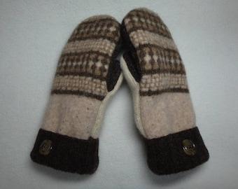 Ladies Upcycled Wool Mittens Cream, Beige and Dark Coffee Brown