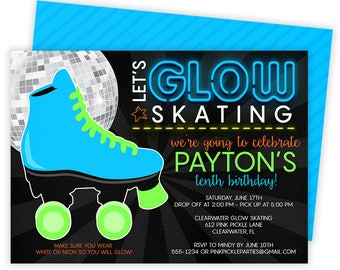 Roller Skating Invitation, Roller Skating Party, Roller Skating Party Invitation, Roller Skate Invite, Skate Party, Glow Party, Neon | 612