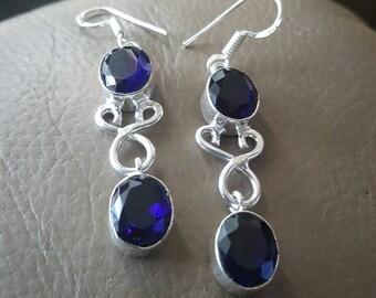Royal Blue Quartz Earrings !