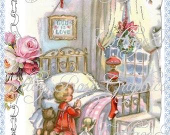 Pink CHRISTMAS prayer vintage shabby cottage  Large digital download  ECS buy 3 get one free
