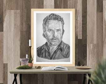 Rick Grimes - The Walking Dead Sketch A4 Print