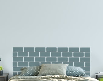 Vinyl Headboard - Brick Wall Headboard - Brick Wall Decal - Brick Wallpaper - Queen Headboard - Bedroom Decor - Rustic Headboard