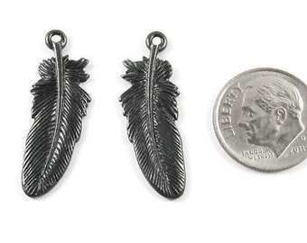 TierraCast Pewter Charms-BLACK LARGE FEATHER (2)