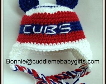 Cubs Baseball Crochet Hat-Cubs Baby-Baseball Gift-Baby Shower Gift-Cubs Baseball Hat-Cubs Decor-Baseball Theme Baby Shower-Baseball Gifts