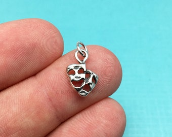 Sterling Silver Comedy Tragedy Charm, Tragicomedy, Theater, .925 Silver, DIY, Bracelet Charms, (C332)
