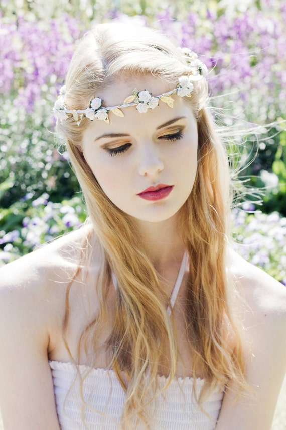 Olympic White Rose and Gold Leaf Flower Crown Grecian Flower