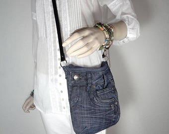 Denim bag cross-body or shoulder bag mini messenger up-cycled jeans