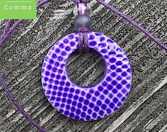 Ceramic boho necklace, glazed purple pendant, handmade stamped clay charm, boho jewelry, donut pendant, contemporary pendant