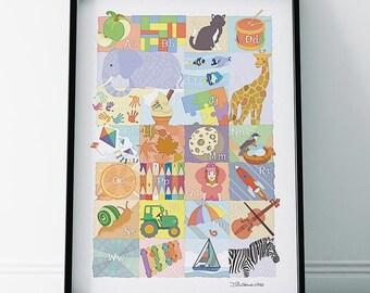 Alphabet ABC Nursery Print
