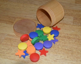 Montessori Counting Sorting Wooden Rainbow Circles and Stars Sensory Toy 24 Sorting Pieces (Bowls and box not included)