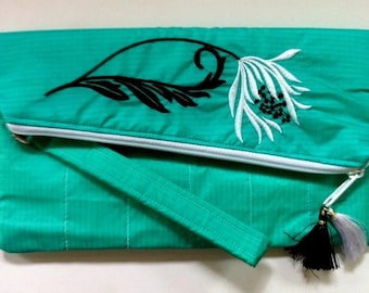 Recycled Paraglider Womans Clutch Purse Emerald Green Embroidered Floral Wristlet,  Eco,Eco Fashion, Ethical Fashion, Urban Fashion