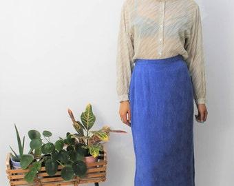 Royal Blue Textured Pencil Skirt Size UK 12, US 8, EU 40