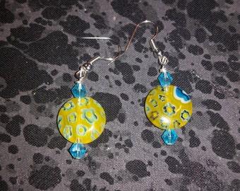 Yellow Millefiori Glass Earrings