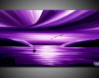 LARGE, Original, PAINTING on Canvas, PURPLE, landscape/Seascape, sunset, Wall Art, Modern, Contemporary