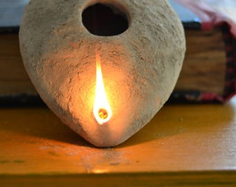 BYZANTINE Oil LAMP, Early Christian, Ancient Oil Lamp, ECO-Friendly Light,  Weel Thrown Pottery, Farmhouse candles, Authentic oil lamp,
