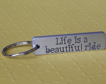 Engraved Keychain, Aluminum Keychain, Life is Beautiful, New Driver, Inspirational, Stocking Stuffer