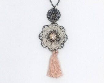 Long Pendant Necklace, Long Tassel Necklace, Flower Pendant Necklace, Brass Necklace, Cute Necklace, Vintage Necklace, Christmas Necklace