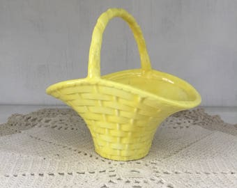 Little vintage Easter basket for your table, bright yellow, bottom marked MH, weave texture, cute planter