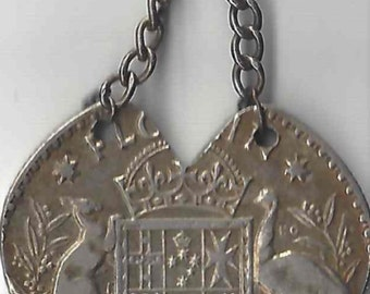 Vintage WWII Pacific Front Silver Australian Florin Heart Shaped Sweetheart Fob