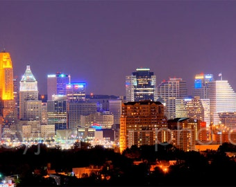 CANVAS Cincinnati Skyline NIGHT Cincy Panoramic Photo Print Picture Cityscape
