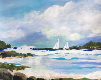 "Sailboats Original Painting on 24 x 18"" Watercolor Paper by Karen Fields"