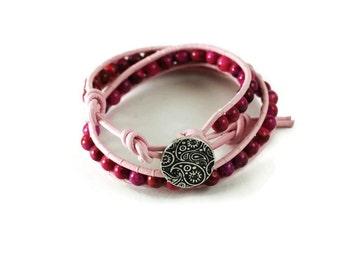 Paisley pink gemstone wrap bracelet - double wrap