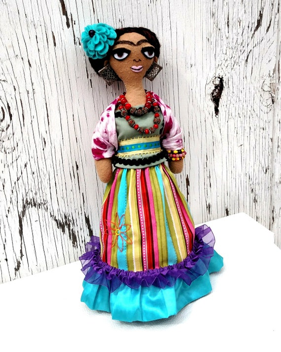 Hand Sewn Frida Kahlo Fabric Doll - One of a Kind