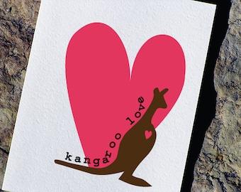 Cute Valentines Card - Kangaroo Love
