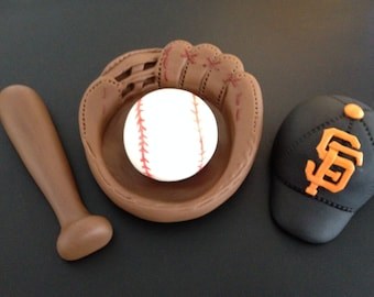 Fondant 3D personalized baseball cake topper