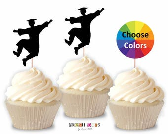 Jumping Boy Graduation Cupcake Toppers Graduation Confetti Straw Toppers 2018 Party Supply Decoration You Pick School Colors Set Of 15
