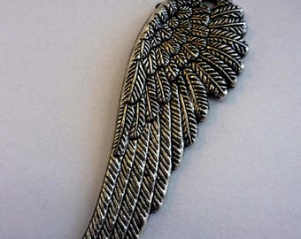 1 attractive 51x17mm silver angel wing charm