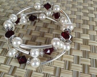 Memory wire beaded bracelet
