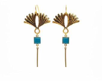 Boucles d'oreilles Art Nouveau, fines, boucles longues, boucles géométrique, doré, bleu canard, cadeau pour elle, fait-main, Absinthe Bijoux