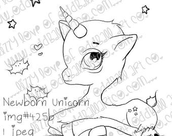 Digital Stamp Instant Download Cute & Whimsical Scene ~ Newborn Unicorn Image No. 425(b) by Lizzy Love