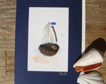 Seaglass card-Genuine seaglass-Seaglass art-Hand made greeting cards-postcard with sailing boat-Card OOAK