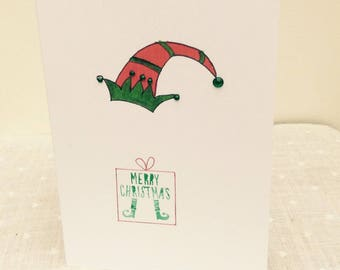 Pack of 4 Elf Christmas cards. Christmas Elf. Santa's helper. 5X7 cards.Fun and quirky Christmas card. Seasonal card. Christmas greeting.