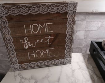 """Hand-painted """"Home Sweet Home"""" Wall Art with Lace Detail"""