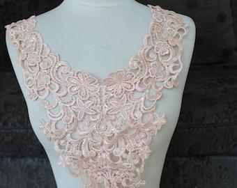 Cute venice applique  pink color with sparkles 1 pieces listing