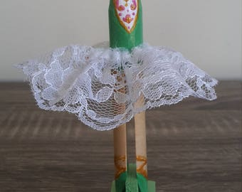 Green Ballerina Clothespin Doll