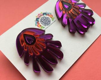 purple studs, flower earrings, lightweight studs, plastic jewellery, comfortable earrings, bold jewellery, folk design, folklore jewellery