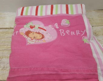Strawberry Shortcake Full size flat sheet, 1980s, vintage bedding