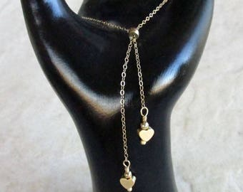 Gold Filled Bolo with Satin Heart Charms- Ajustable Tassel Bracelet - Two Hearts - Gift for Her - Mother's Day