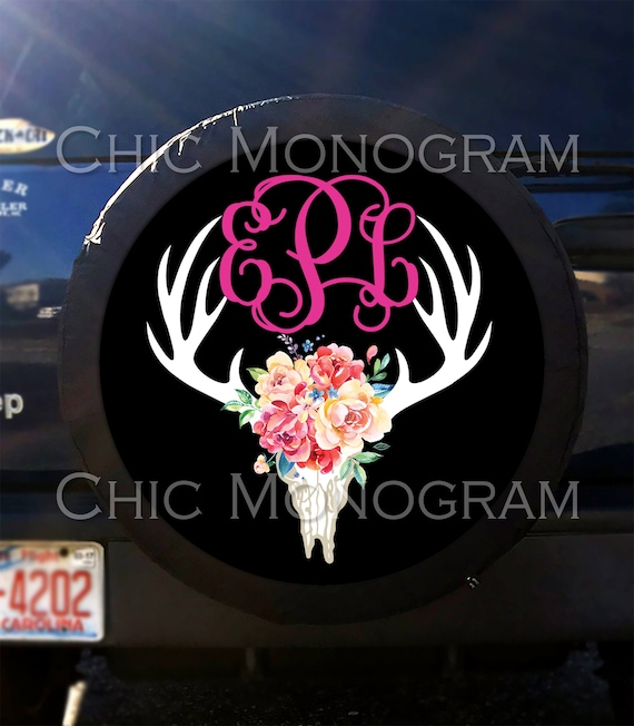 Deer Skull Flowers Tire Cover Spare Tire Cover Custom Tire Cover Monogrammed Tire Cover Jeep Wrangler Accessories Jeep Tire Cover