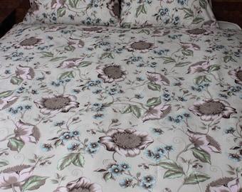 Floral duver cover, cotton bedding, duvet cover pink blue grey Single bedding, natural bedding, Double bedding, Queen,King