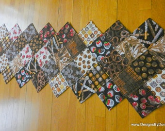 Quilted Reversible Table Runner, Chocolate Lovers Delight, Chocolate & More Chocolate, Handmade Table Linens