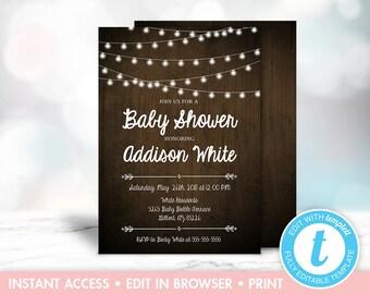 Rustic Baby Shower Invitation, Rustic Baby Shower, Instant Download, Wood, String Lights, Gender Neutral, Templett