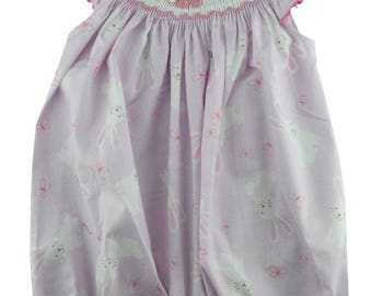 Size 12M Hand Smocked Girl's Bunny Print Romper