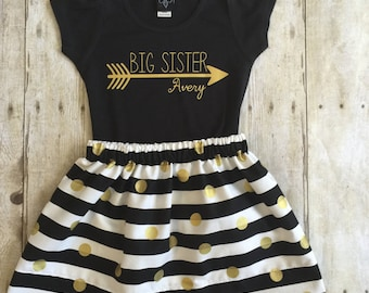 Girls big sister  outfit, pregnancy announcement shirt, personalized big sister shirt   Pregnancy Announcement Baby Announcement Shirt