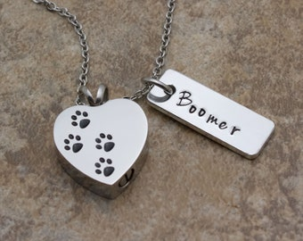 Pet Urn Necklace, Cremation Jewelry, Pet Remembrance, Dog Cat Memorial, Paw Necklace For Ashes, Urn Necklace, Personalized Memorial Fur Baby